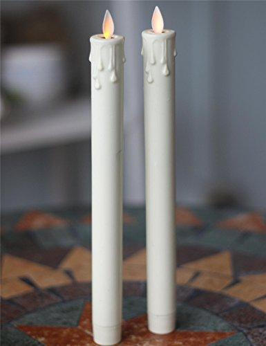 Juego de velas de goteo con control remoto, 11 pulgadas, marfil, 2 piezas, con 2 candelabros