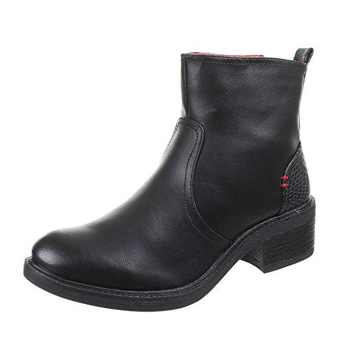 Damen Schuhe Stiefeletten Gefütterte Used Optik Boots Schwarz Braun Camel 36 38 38 39 40 41 Schwarz