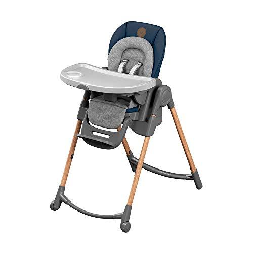 Maxi-Cosi Minla Hochstuhl, höhenverstellbarer Kinderstuhl, nutzbar ab der Geburt bis ca. 6 Jahre (max. 30kg), inkl. abnehmbarem Tisch, verstellbarer Rückenlehne & Liegefunktion, essential blue