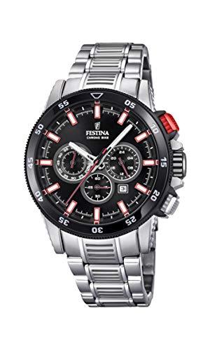 Festina Herren Chronograph Quarz Smart Watch Armbanduhr mit Edelstahl Armband F20352/4 - Uhren Festina