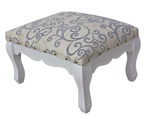 elbmöbel Pianohocker creme beige Sitzhocker Schminkhocker Stoff Blumen-Muster für Schminktisch in weiß silber Landhausstil Klavierhocker 40cm (Weiß, 28x40x32cm) -