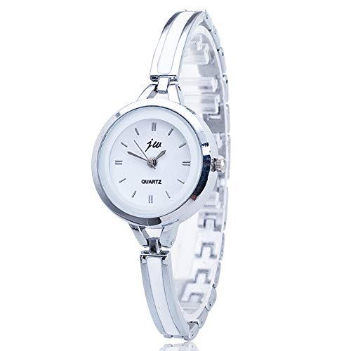 Relojes Mujer con Pulsera de Correa Fina, Escala del Clavo Brazalete Plateado Relojes de Pulsera Elegante...