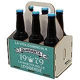 Portabirre in legno, set da sei birre, portabirre per 6 bottiglie, set da 6 birre, regalo di birra, compleanno per i 40 anni, regalo di compleanno per i 40 anni, con stampa, di legno, 40° compleanno