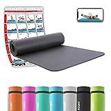 POWRX Gymnastikmatte Yogamatte inkl. Workout I Trainingsmatte Phthalatfrei 183 x 60 x 1 cm I Matte hautfreundlich I Versch. Farben (Schwarz)
