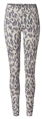 Leggings Roll Down Ruffled - Leo Print M Curare (Roll-down-yoga-hosen)