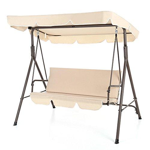 IKAYAA 3-Sitzer Hollywoodschaukel Gartenschaukel mit Polsterauflage