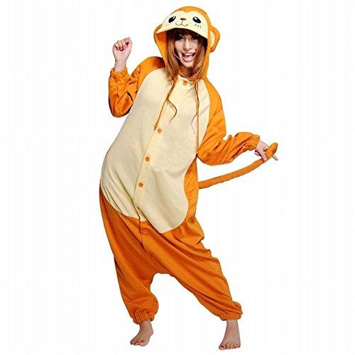 iKneu Tier Onesie Jumpsuits Pyjama Oberall Hausanzug Kigurum Fastnachtskostuem Schlafanzug Affe - Für Affe Kostüm Damen