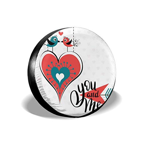 Tire Cover Tire Cover Wheel Covers,Kissing Birds Celebrating Valentines Day Doodle Style Arrow And Heart,for SUV Truck Camper Travel Trailer Accessories(14,15,16,17 Inch),Tire Cover size:17inches -