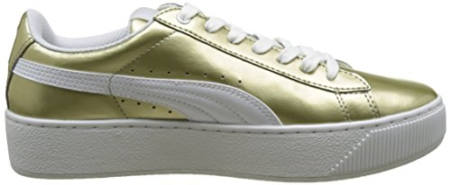 Puma Damen Vikky Platform Metallic Sneakers Beige (metallic gold-puma white 01)