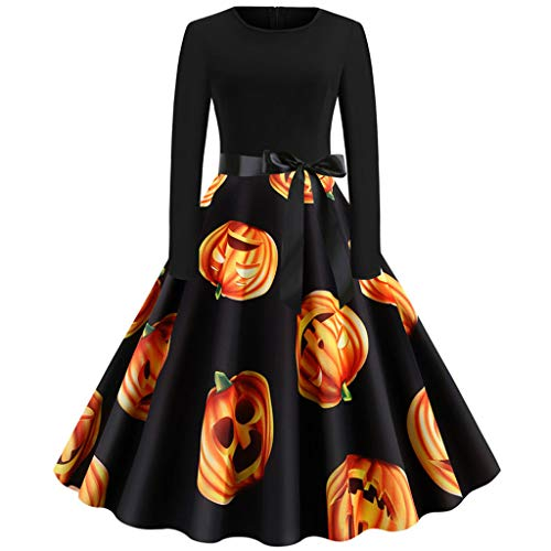GOKOMO Halloween Damen Rockabilly Kleid Elegante Kleider Lange Frauen Sommer Festliche Damenkleider Knielang - Vintage Bodycon äRmellose Abend Party Prom Swing Dress(Orange-d,Large)
