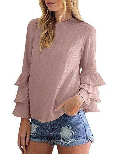 StyleDome Blusa Camisa Camiseta Mujer Mangas Largas Volante Elegante Oficina Casual Moda Rosa EU 38-40