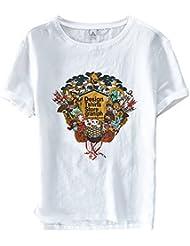 Insun Insun Hommes T-shirt Imprimé Tees de Lin Crew Neck Printemps Eté Tops
