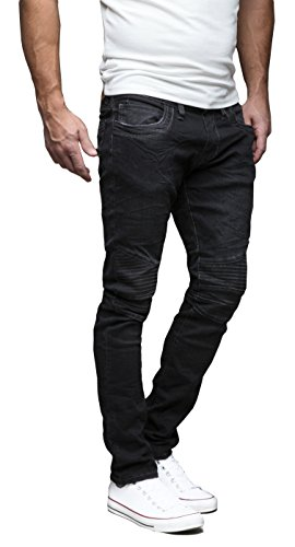 MERISH Homme Pantalons Denim Jeans Regular Fit coup d'oeil détruit à la mode Modell J728b 1166Black