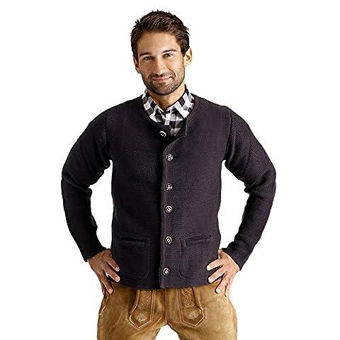 ALMBOCK Herren Strickjacke | Cardigan für Männer in schwarz anthrazit | Trachten Strickjacke | Größen S, M, L, XL, XXL,
