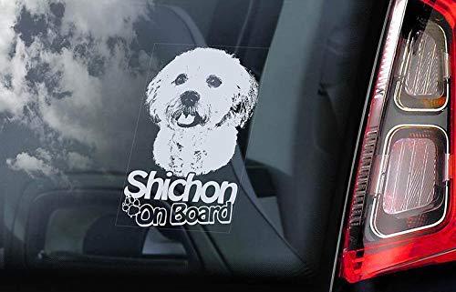 CELYCASY Shichon on Board - Auto-Fenster-Aufkleber - Shih Tzu Bichon Frisé Cross Hybrid Dog Sign Aufkleber - V01 -