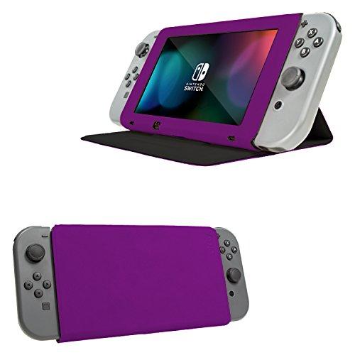 Funda con tapa y soporte para la Nintendo Switch, Carcasa MORADA Multifuncional para la Nintendo Switch con soporte integrado y tapa protectora para la pantalla de la Nintendo Switch