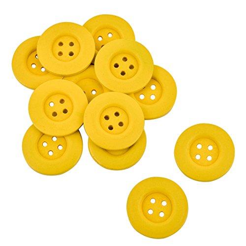 Kostüm Für Vier Gruppe - Knopf rund Deko 12er Set Holz 4x4cm (Gelb)