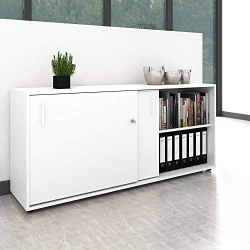 Schiebetürenschrank Sideboard NOVA 2OH 1.640 x 400 mm in Weiß