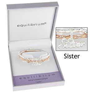 Equilibrium Gold and Silver Plated Double Bangle SISTER Bracelet