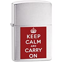 Zippo Keep Calm and Carry On Windproof Lighter - Brushed Chrome