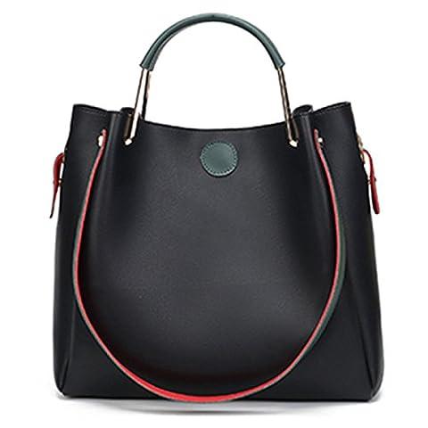 ZPFME Womens Tote Sac à Main Sac à Main Mode Sac Carré Shopper Cuir Fête Rétro Sac Femme Rétro Cadeau,Black-A