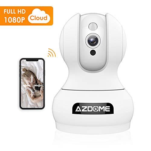 Überwachungskamera 1080P WLAN IP Kamera Full HD AZDOME mit Bewegungserkennung 2 Wege Audio Super Nachtsicht, kompatibel mit Amazon Echo Show/Alexa,WiFi App Kontrolle Unterstützt Fernalarm