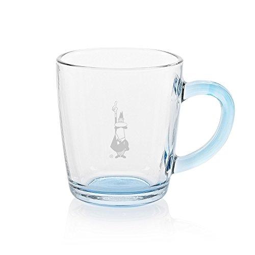 Bialetti RTATZ845 Mug Verre Trempé Transparent/Bleu Ciel 8,7 x 8,7 x 9,9 cm