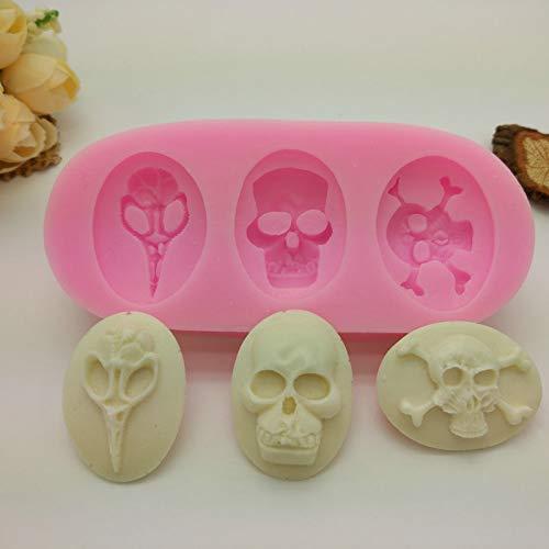(salamii Halloween Totenkopf Backen Formen Creative Fondant Kuchen Form Kuchen dekorieren Tools (Rosa))