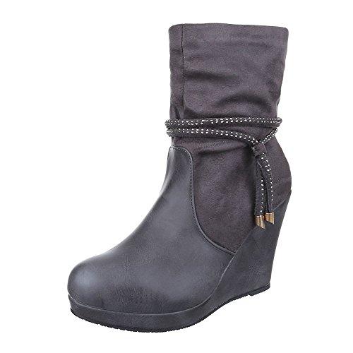 Ital-Design Keilstiefeletten Damen Schuhe Plateau Keilabsatz/Wedge Warm Gefütterte Reißverschluss Stiefeletten Grau, Gr 40, 0-137-