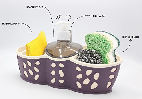 Sponge Bursh Holder Refillable Soap Dispenser Bath Kitchen Sink Tidy In 3 Colors (Caddy-02)