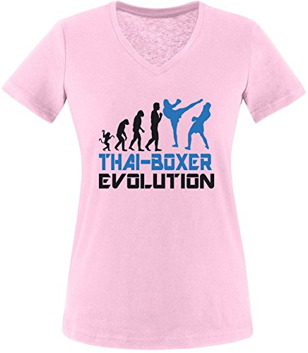 EZYshirt® Thai Boxing Evolution Damen V-Neck T-Shirt Rosa/Schwarz/Blau