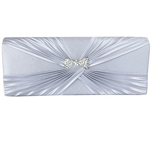Giapponese e coreano in stile Super carino farfalla forma Vintage seta bella pieghe sera pochette borsetta Walle , silver