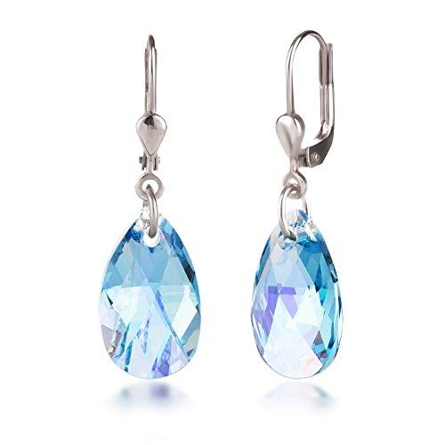 Schöner-SD, Ohrringe aus 925 Silber Rhodium mit 16mm Swarovski® Kristall Tropfen Aquamarin AB, hell-blau mit Schmuckbox (Ab Stein Ohrringe)
