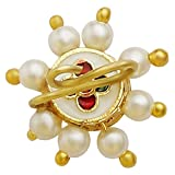 Accessher Ruby and Pearl Nose Pin for Women