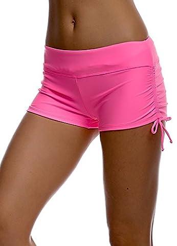 Imixcity® Femmes Shorts de Bain Classique S'adapter pour l' Yoga, Jogging, Natation、Plage 、Piscine (L=FR 38/40, Rose rouge)