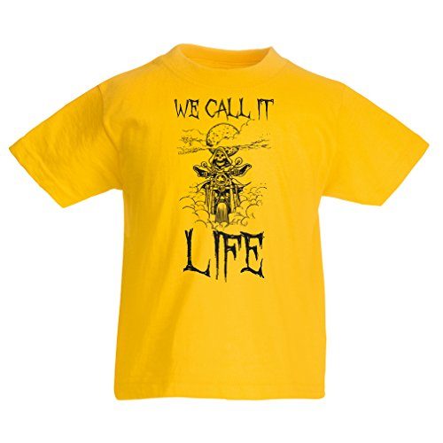 lepni.me Kinder T-Shirt We call it life motorradbekleidung (12-13 years Gelb Mehrfarben)