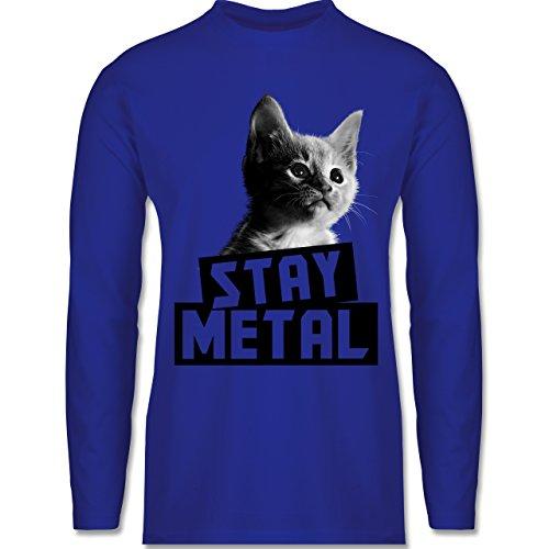 Metal - Stay Metal Katze - Longsleeve / langärmeliges T-Shirt für Herren Royalblau