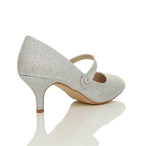 35a94036521ba2 ... Damen Hoher Absatz Mary Jane Formal Abend Party Ball Pumps Schuhe Größe  Silberne Glitzerstaub Schimmer ...