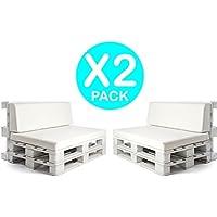 SUENOSZZZ-ESPECIALISTAS DEL DESCANSO - X2 Asiento + Respaldo para Palet.Tapiado en Polipiel Blanco. Espumacion HR desenfundable Exterior e Interior.2 Unid.