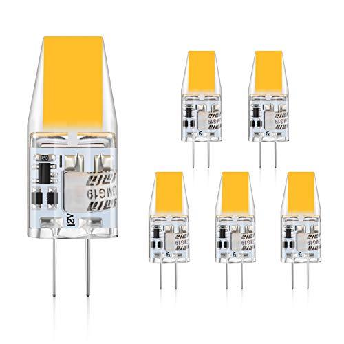 Defurhome G4 LED Lampen,3W LED Birnen ersetzt 30W Halogenlampen,300LM, Warmweiß 2900K,12V AC/DC,Kein Flackern Nicht Dimmbar, G4 LED Glühlampe,5er-Pack -