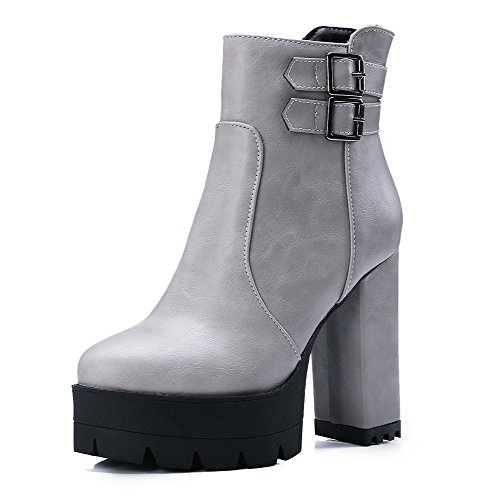 AllhqFashion Damen PU Hoher Absatz Niedrig-Spitze Reißverschluss Stiefel, Grau, 37
