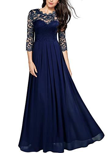 Miusol Robe Femme Soirée Robes Longues de Cocktail Mariage Dentelle Boheme Chic Robe Bal de Bleu XL