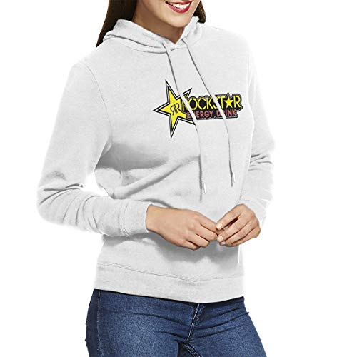 Rockstar Energy Drink Women's Long Sleeve Casual Hoodie Hooded Sweatshirt with Drawstring Gray,White,Medium (Hoodies Energy Drink Rockstar)