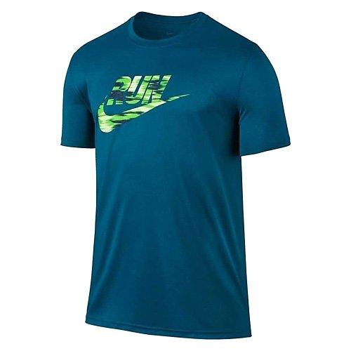 NIKE Herren M NK Dry Tee Lgd Brand Kurzarmshirt, Industrielles Blau/Elektro Grün, L