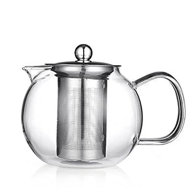 Beyonda Fmgybl315chinois et Janpnese Thé Théière en verre, filtre en acier inoxydable et couvercle Théière bouilloire, résistant à la chaleur Théière en verre Carafe avec infuseur pour 2–4tasses, 650ml