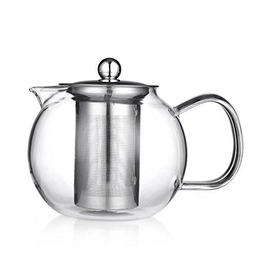 bedyodna 950ml gybl316Glas Krug mit Deckel &-Ei-Borosilikat Glas Karaffe BPA-Hitzebeständig, perfekt für heiße und kalte Wasser, Tee, Saft, Milch 950ml weiß - Mit Deckel Metall-krug