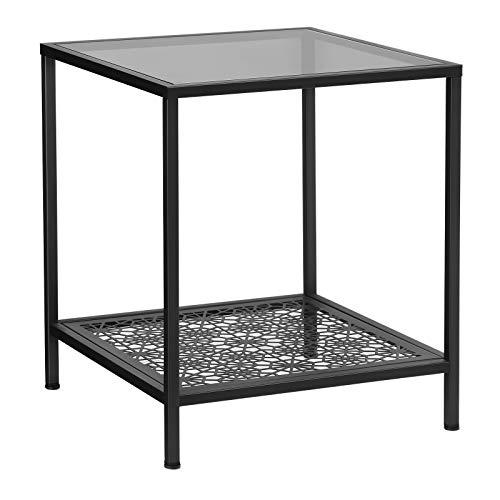 Eisen-glas Beistelltisch (SONGMICS Beistelltisch Glas, Sofatisch mit verzierter Ablage, Nachttisch, Hartglas, SGS geprüft, dekorativ, Wohnzimmer, Schlafzimmer, 43,4 x 43,4 x 50,7 cm, schwarz LGT01BK)