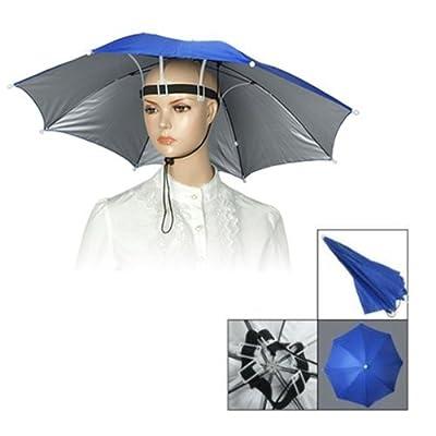 QHGstore Fischen-elastisches Stirnband Metallrahmen Hände frei Regenschirm Nylon Hut-Blau von QHGstore - Outdoor Shop