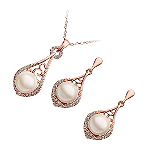 GWG® Jewellery Set for Women 18K Rose Gold Plated Pendant Necklace and Earrings White Pearl Embellished with Diamond Clear Crystals Water Drop Shape