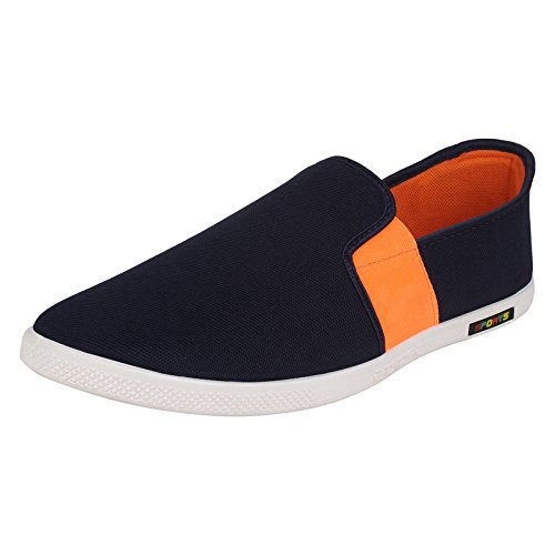 World Wear Footwear Men's canvas Blue Loafers & Mocassion-9  available at amazon for Rs.198
